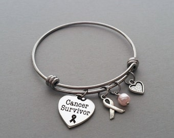Breast Cancer Charm Bracelet, Breast Cancer Survivor, Cancer Survivor, Cancer Awareness, Survivor Bracelet, Stainless Steel Charm Bangle