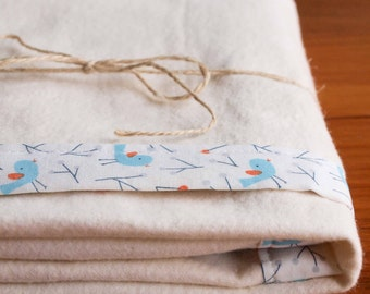 Organic Baby Blanket, BLUEBIRDS; Aqua Blue and White Blue Birds Essential Organic Bound-Edge Baby Blanket by Organic Quilt Company