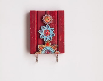 Key Hook READY TO SHIP Accessory Hanger Repurposed Trim Wall Art Colorful Ceramic Tiles Pottery Whimsical Flowers Scandinavian Folk Style