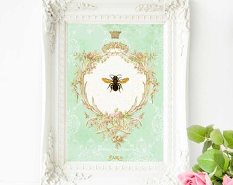 Bee print, home decor, mint green, gold, French vintage decor, bee, honey bee, Queen bee, vintage insect, Paris, wall art, A4 print, giclee