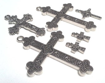 Cross Pendants Cross Charms, Silver Pewter - Set of 6 - Oxidized Silver Style - Sturdy - Very Nice.