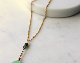 Green Gemstone Gold Necklace / Vermeil and 14K Gold Fill / Wire wrapped Prehnite  and Tourmaline Gemstones / Stone Pendant / Dainty Necklace