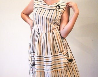 Belle Isle, 50s Dress, Striped Cotton Day Dress, 1950s Rockabilly Dress, Brown Tan Striped Dress, 50s Retro Dress with Pockets M L