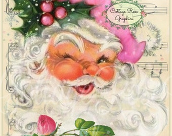 Jolly Pink Santa Shabby Christmas music roses Large digital download ECS buy 3 get one free ECS svfteam
