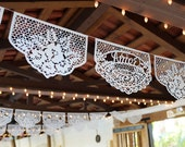 Papel Picado Banners - custom color, personalized date wedding reception decor - FAMILIA FLORES
