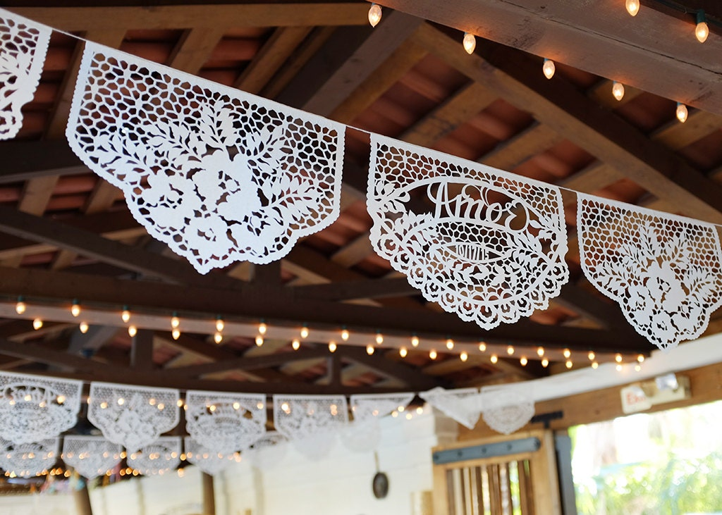 Papel Picado Banners Custom Color Personalized Date Wedding