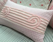 Vintage Chenille/Down 22x12 Pillow/Cottage Chic/Pink/Shabby Chic/Beach/Baby Nursery/Decorative Throw Pillow