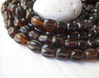 brown round lampwork glass beads, glossy translucent wavy melon   , indonesian  -  9 to  11mm  / 12 pcs - 6a8-12