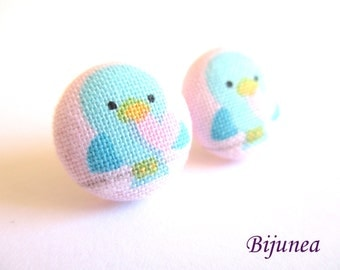 Bird earrings - Bird flower stud earrings - Bird pink flower studs - Bird post earrings sf1329