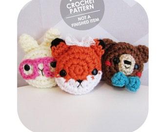 crochet pattern - crochet pin badge set - fox bunny bear - hair clip pinback necklace - crochet charms amigurumi plushie accessories