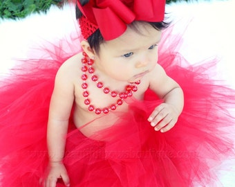 Red Baby Tutu Set,Newborn Red Tutus,Holiday Infant Tutu,Girls Christmas Red Tutu and Headband,Red Tulle Skirt for Babies and Toddler Girls