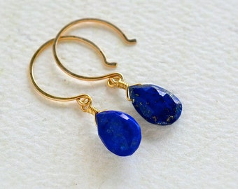 Midnight Earrings - organic lapis lazuli earrings, royal blue gemstone drop earrings, lapis lazuli earrings, DE22