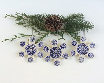 Set of 3 Blue & White Handmade Ceramic Snowflake Ornaments