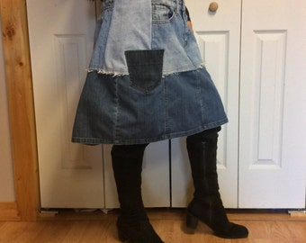 XL UpCycled Blue Jean Skirt/Plus Size/Short Skirt/Knee Length/Denim Skirt/Faded/Aline/Distressed/Recycled Jeans/Repurposed Clothing