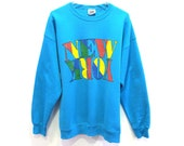 80s NEW YORK State Rainbow Multicolored Logo Sweatshirt Lee Heavyweight XL