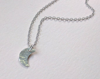 Little crescent moon necklace, sterling silver hammered moon
