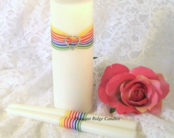 Rainbow Wedding Candle Unity Candle Set Bling Unity Candle Rhinestone Unity Candle Unity Heart Unity Candle & Ribbon Color Choice