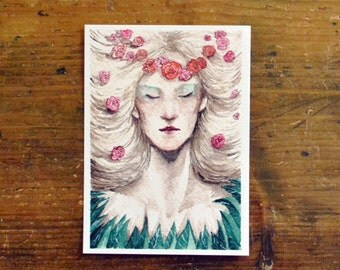 Titania the Queen of the Fairies Postcard. Print watercolor Green and pink Illustration from Shakespeare's A Midsummer Night's Dream