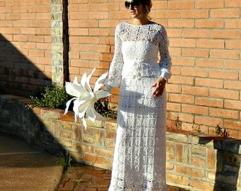 Lace Wedding Dress-Lace Wedding Dress with Sleeve-Unique Wedding Dress-Separates-Hand Crochet Lace Couture Monaco Maxi-Bride Collection