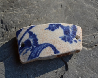 Genuine Sea Pottery Cuff Bracelet Link Blue White Porcelain China Drilled