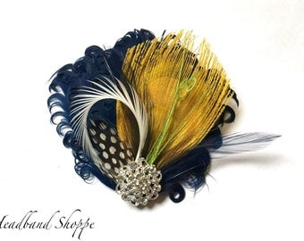 BREE - Navy Blue and Yellow, Polkadot and Lime Curled Goose Peacock Feather Fascinator - Made to Order