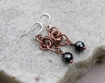 Copper Link Earrings, Boho, Bohemian, Antique Copper, Handcrafted, Canada, Modern, STERLING SILVER EARWIRES