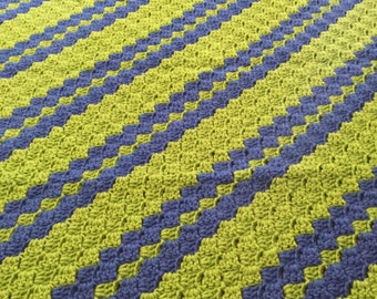 Diagonal Spring Green and Blue Baby Blanket