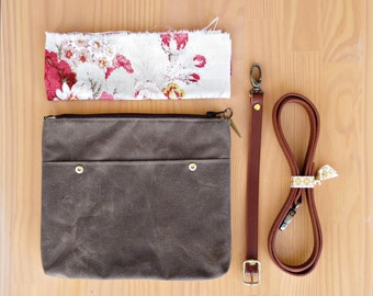 Waxed Canvas Crossbody Bag in Seal Brown with Vintage Style Floral Lining and Leather Strap, Waxed Canvas Cross Body Purse, Made in USA,