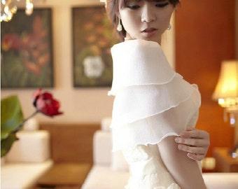 Bridal white  ivory black soft chiffon wrap sheer shawl shoulder cover wedding