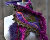 Cashmere patchwork SCARF Wrap with felt leaf, faux fur, crochet ruffle, beaded appliqué. Woodland Fantasy pixy couture