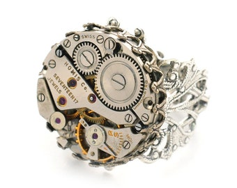 Steampunk Vintage Watch Movement Adjustable Ring