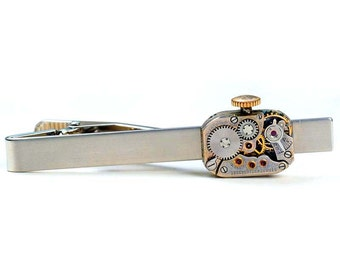 Steampunk Vintage Movado Watch Movement Tie Bar Alligator Clip