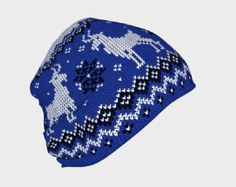 Woolly Goat Blue (Printed Knit Work) - Beanie Hat - Death's Amore Clothing - From S to L