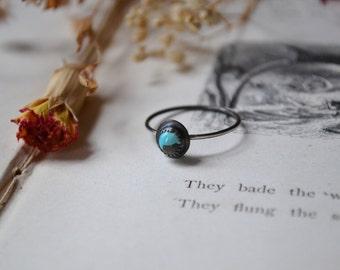 Blue Kingman Turquoise Silver Stacker Ring
