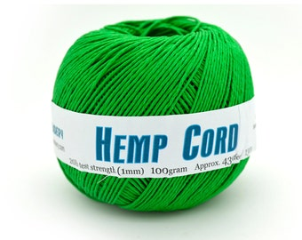 Spring Green Hemp Cord, 1mm, 430 Feet,  Dyed Hemp Twine, Twine Balls,  Hemp Jewelry Supplies -T75