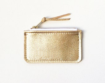 Metallic Leather Credit Card Wallet, Gold Leather Zip Wallet, ID Wallet, Business Card Wallet, Metro Card Pouch, Keychain Wallet, Coin Purse