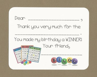 Bingo Birthday Party Card - Fill in the Blanks Thank You Notes - Your Gift Is a Winner