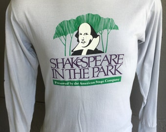 Shakespeare in the Park 1987 vintage long-sleeve soft shirt - grey size medium/large
