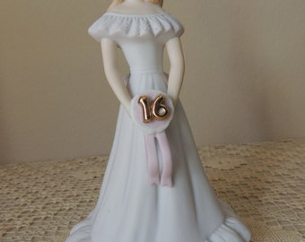 Lovely Enesco Fine Porcelain Sweet Sixteen Girl Figurine. 1982 Growing Up Birthday Girls Statue.  Cake Topper made in Sirlanka