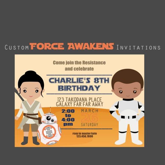 Force Awakens Party Invitiation Star Wars 5x7 Birthday Invitations Custom