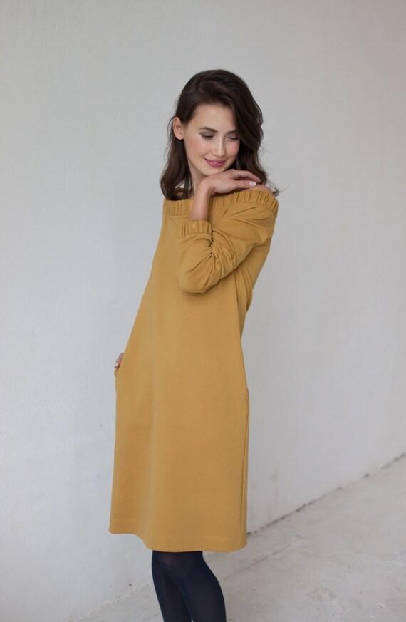 Off shoulder dress | Perfect dress | Mustard dress | LeMuse off shoulder dress