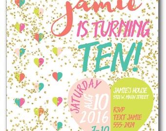 Glitter Confetti Birthday Invitation - DIY Printable File