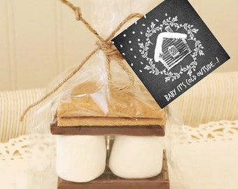 S'mores Party Favor Kit, WINTER S'mores Favor Kits, Favor Kits with Chalkboard Tag, S'mores Kit, S'mores Bar, S'mores Love, Wedding Favors