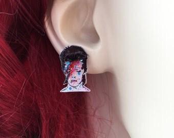 Glam David Bowie Earrings, Ziggy Stardust Earrings Rock N Roll Jewelry Shrink Plastic Earrings Hand-Drawn Jewelry, Handmade Glitter Earrings