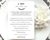 PRINTED Wedding Reception  I Spy Game - Style G1 - BOMBSHELL COLLECTION