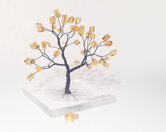 black yellow miniature art statue plexiglass base - minimal spiritual black yellow wire tree of life - whimsical minimalistic home decor