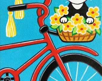 ORIGINAL CAT Folk Art PAINTING - Cat & Bicycle with Flower Basket 6 X 8 Canvas by Jill