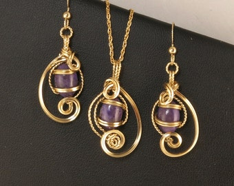 Purple Charoite Gemstone Gold Jewelry Gift Set, Wire Art Sculpture Russian Charoite Necklace Set