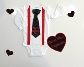 My First Valentine's Day Outfit. Baby Boy First Valentines Day. Newborn Boy Valentines Clothes.