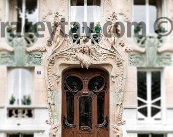 Door Photo, Paris Print, Mint Green, Beige, Brown, Art Nouveau Door, Neutral Door Art Print